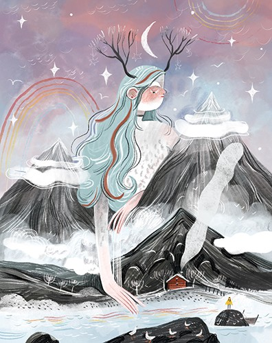 Anna Shepeta Illustration - anna shepeta, fiction, digital, pencil, texture, traditional, colour, colourful, woman, giant, character, girl, winter, nature, mountains, seasons, antlers, crown, snow, river, water, stars, sky, rainbow, seasonal, christmas, festive, mother nature, magic