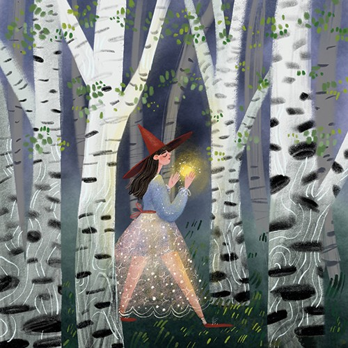 Anna Shepeta Illustration - anna shepeta, texture, fiction, digital, pencil, texture, traditional, colour, colourful, person, character, woman, witch, hat, orb, glowing, woods, forest, frees, spooky, skits, glitter, magical, halloween, spooky, walking, spell, seasonal, fall, autumn,