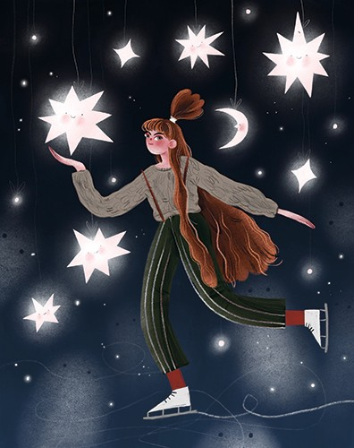 Anna Shepeta Illustration - anna shepeta, texture, fiction, digital, pencil, texture, traditional, colour, colourful, person, character, woman, stars, sky, night, ice, skating, ice skating, skater, ice skater, sport, activity, moon, glowing, lights, magical,