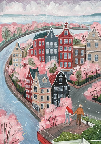 Anna Shepeta Illustration - anna shepeta, fiction, digital, pencil, texture, traditional, colour, colourful, art, town, city, buildings, river, canal, tall, blossom, trees, spring, seasons, people, holding hands, walking, beautiful, sky, clouds, light, ocean, horizon, roads, birds,