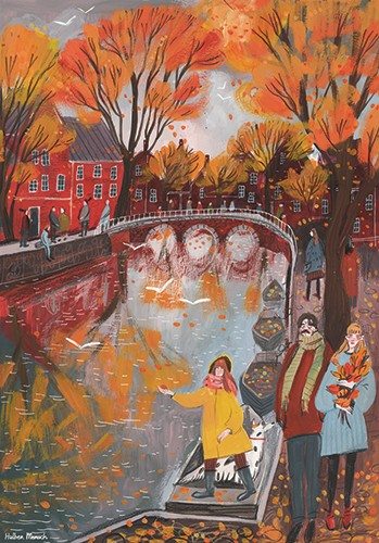 Anna Shepeta Illustration - anna shepeta, texture, fiction, digital, pencil, texture, traditional, colour, colourful, town, city, canal, water, bridge, houses, buildings, travel, adventure, trees, people, boats, leaves, autumn, fall, nature, seasons, landscape,