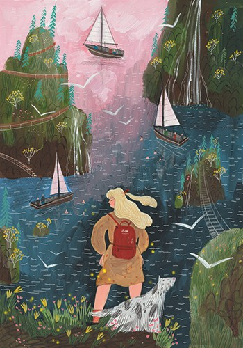 Anna Shepeta Illustration - anna shepeta, texture, fiction, digital, pencil, texture, traditional, colour, colourful, boats, ocean, water, sea, rivers, sailing, woman, watching, person, cliffs, adventure, travel, travelling, coast, waves, nature, beautiful, transport, dog, pet, walk
