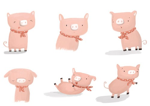 Abi  Tompkins  Illustration - abigail, tompkins, abigail tompkins, trade, sweet, cute, picture book, greetings cards, stationary, digital, painted, photoshop, textured, fiction, young, piggy, pig, piglet, animal, funny, scarf, pattern