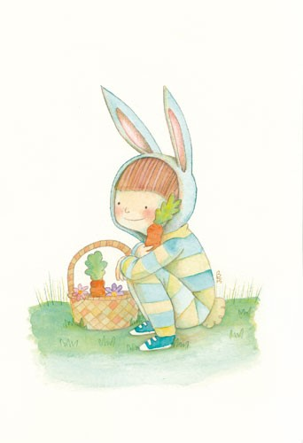 Brenda Figueroa Illustration - brenda, brenda figuera, commercial, digital, young readers, YA, picture books, hand drawn, paint, coloured, fiction, child,boy, person, figure, rabbit, bunny, dress up, food, vegetables, carrots, basket, trainers, grass