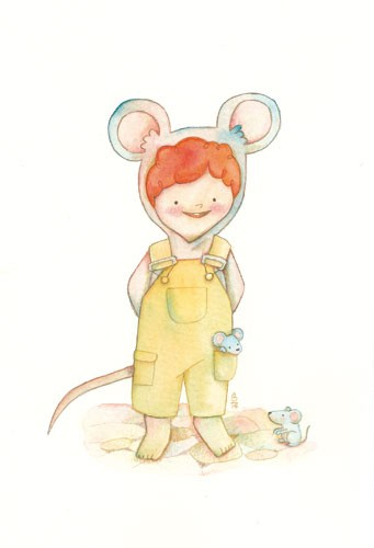 Brenda Figueroa Illustration - brenda, brenda figuera, commercial, digital, young readers, YA, picture books, hand drawn, paint, coloured, fiction, boy, child, person, figure, dress up, mouse, animal, toy, cute, sweet