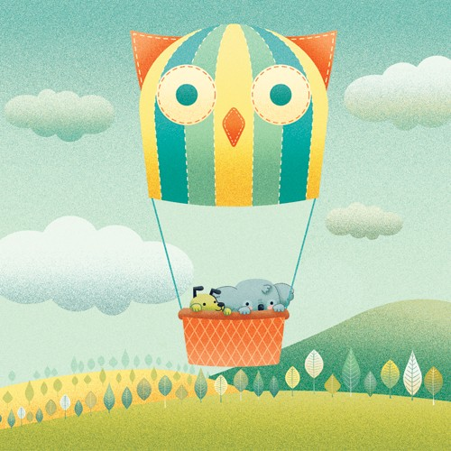 Brenda Figueroa Illustration - brenda, brenda figuera, commercial, digital, young readers, YA, picture books, hand drawn, paint, coloured, fiction, animals, cute, sweet, koala bear, koala, dog, hot air balloon, balloon, trees, hills, fields, grass, clouds, sky