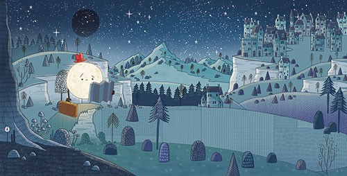Brendan Kearney Illustration - brendan, kearney, brendan kearney, illustration, colourful, digital, photoshop, hand-drawn, colour, mass market, fiction, picture book, moon, nature, nighttime, stars, trees, plants, hills, buildings, sad, lost, map, suitcase, hat, character