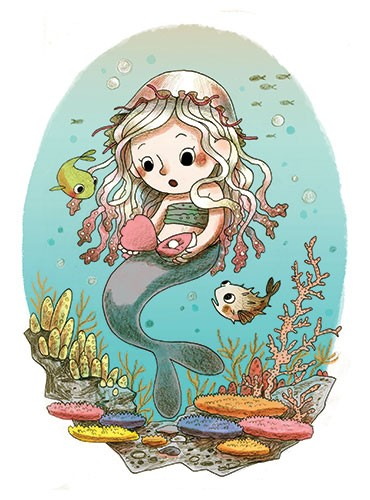Brittany E. Lakin Illustration - brittany, e., lakin, brittany e. lakin, illustration, pencil, drawing, photoshop, colour, colourful, commerical, mass market, mermaid, underwater, sea, ocean, coral, rocks, fish, clam, pearl, oyster, surprise, bubbles, jellyfish, hat, cute, sweet, reef