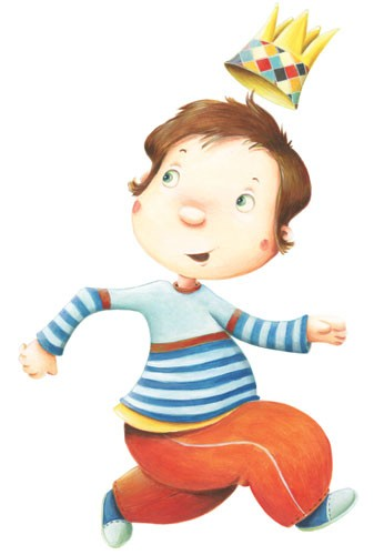 Bruno Robert Illustration - bruno, robert, bruno robert, painted, paint, commercial, picture book, young reader, YA, boy, child, person, figure, crown, cute, sweet, walking, stripes, pattern