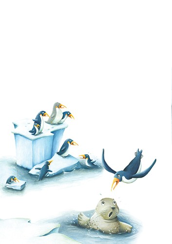 Bruno Robert Illustration - bruno, robert, bruno robert, painted, traditional, paint, commercial, picture book, young reader, YA, humour, penguins, iceberg, seal, surprised, water, ocean,