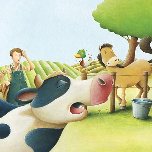 Bruno Robert Illustration - bruno, robert, bruno robert, painted, traditional, paint, commercial, picture book, young reader, humour, farm, animals, cow, duck, horse, farmer, confused, person, figure, trees, field, fence, bucket,