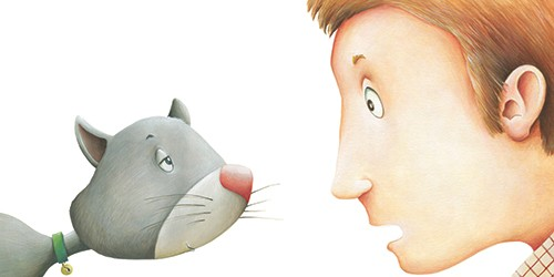 Bruno Robert Illustration - bruno, robert, bruno robert, painted, traditional, paint, commercial, picture book, young reader, humour, farmer, cat, pet, surprise, faces, close up, people, figures, man, animals,