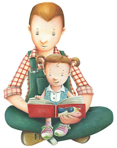 Bruno Robert Illustration - bruno, robert, bruno robert, painted, traditional, paint, commercial, picture book, young reader, humour, family, dad, father, daughter, child, parent, reading, book, pages, love, people, figures,