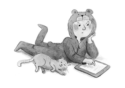 Charlotte Cotterill  Illustration - charlotte, cotterill, charlotte cotterill, illustrator, digital, watercolour, traditional, black and white, b&w, pencil, child, kid, bear, costume, dressing up, fancy dress, onesie, cat, pet, family, friends, love, book, reading, tablet, e-book, ebook, co