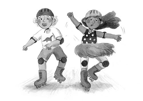 Charlotte Cotterill  Illustration - charlotte, cotterill, charlotte cotterill, illustrator, digital, watercolour, traditional, black and white, b&w, pencil, boy girl, children, kids, ya, young adult, skating, skates, helmet, kneepads, activity, sport, fun,