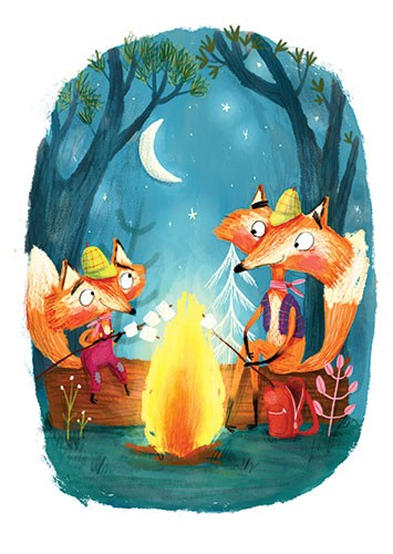 Catalina Echeverri Illustration - catalina echeverri, catalina, echeverri, trade, commercial, fiction, picture book, educational, digital, mixed media, photoshop, illustrator, colourful, colour, foxes, fire, roasting, marshmallows, camping, woods
