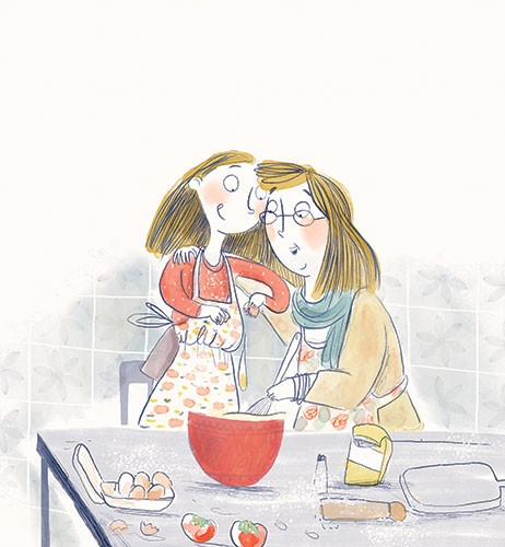 Catalina Echeverri Illustration - catalina echeverri, catalina, echeverri, trade, commercial, fiction, picture book, educational, digital, mixed media, photoshop, illustrator, colourful, family, mother, daughter, grandmother, woman, girl, baking, cooking, kitchen, cute, sweet, bowl, mixin
