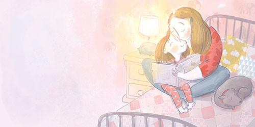 Catalina Echeverri Illustration - catalina echeverri, trade, commercial, fiction, picture book, educational, digital, mixed media, photoshop, illustrator, colourful, family, mother, daughter, woman, girl, reading, book, story, cuddle, hug, love, bed, dog, pet, sleep, cute, sweet