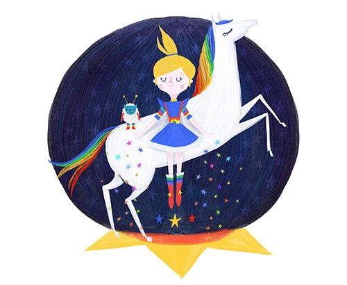 Ciara Ni Dhuinn Illustration - ciara ni dhuinn, illustrator, illustration, artist, handdrawn, photoshop, picturebook, trade, space, fantasy, girl, woman, person, unicorn, horse, alien, sheep, colourful, cute, dress, stars, rainbow