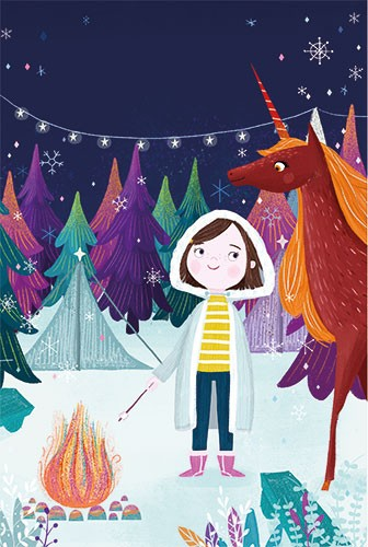 Ciara Ni Dhuinn Illustration - ciara ni dhuinn, illustration, artist, handdrawn, photoshop, picturebook, trade, YA, young reader, quirky, forest, woods, fire, magical, trees, snow, winter, seasonal, weather, season, festive, stars, lights, rainbow, colourful, unicorn, animals, fantasy