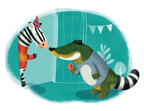 Claudia  Ranucci Illustration - claudia ranucci, claudia, ranucci, picture book, commercial, young, mass market, trade, digital, photoshop, illustrator, croc, crocodile, zebra, animals, animal, wildlife, birthday, happy, presents, happy birthday, friends, hat, celebrations