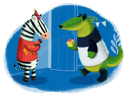 Claudia  Ranucci Illustration - claudia ranucci, claudia, ranucci, picture book, commercial, young, mass market, trade, digital, photoshop, illustrator, croc, crocodile, zebra, animals, animal, wildlife, birthday, happy, friends, hat, celebrations