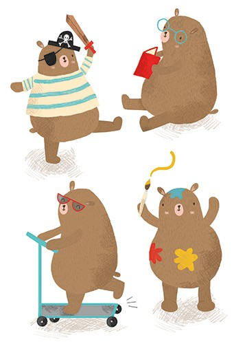 Damien & Lisa Barlow Illustration - Damien, Lisa, Damien & Lisa, Barlow, digital, photoshop, board book, trade, mass market, greetings cards, gift wrap, stationary, fiction, picture book, surface pattern design, colourful, textured, illustrator, sweet, cute, young, fun, animals, bears, brow