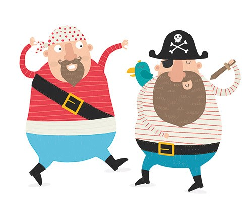 Damien & Lisa Barlow Illustration - Damien, Lisa, Damien & Lisa, Barlow, digital, photoshop, board book, trade, mass market, greetings cards, gift wrap, stationary, fiction, picture book, surface pattern design, colourful, textured, illustrator, sweet, cute, young, fun,pirates, stripes, sku