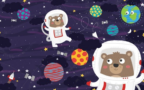 Damien & Lisa Barlow Illustration - Damien, Lisa, Damien & Lisa, Barlow, digital, photoshop, board book, trade, mass market, greetings cards, gift wrap, stationary, fiction, picture book, bears, space, colour, spaceship, rocket, helmets,