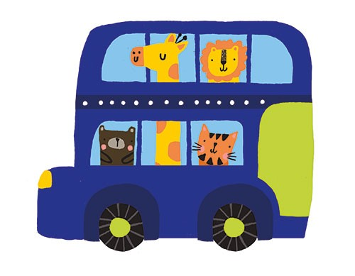 Damien & Lisa Barlow Illustration - Damien, Lisa, Damien & Lisa, Barlow, digital, photoshop, board book, trade, mass market, greetings cards, gift wrap, stationary, fiction, picture book, surface pattern design, colourful, textured, illustrator, sweet, cute, young, vehicle, bus, blue, anima
