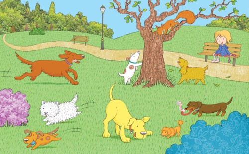 Debbie Tarbett Illustration - debbie, tarbett, debbie, tarbett, digital, colour, photoshop, illustrator, mass market, educational, novelty, young, commercial, picture book, board book, sweet, animals, dogs, doggy, puppy, puppies, pets, squirrel, wildlife, leads, dog walking, playing,