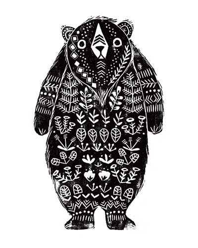 Erin Balzer Illustration - erin, balzer, erin balzer, black and white, b&w, wood printing, printing, licensing, picture book, stationary, greetings cards, bear, grizzly bear, animal, animals,