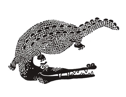 Erin Balzer Illustration - rin, balzer, erin balzer, black and white, b&w, wood printing, printing, licensing, picture book, stationary, greetings cards, crocodile, croc, animal, animals,
