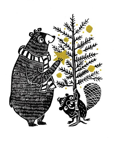 Erin Balzer Illustration - erin, balzer, erin balzer, black and white, b&w, wood printing, printing, licensing, picture book, stationary, greetings cards, christmas, bear, beaver, funny, humour, xmas, tree ,christmas tree,