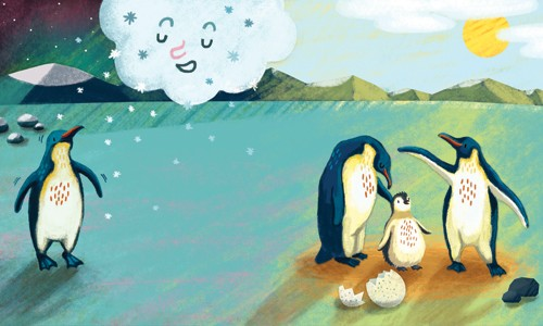 Esther van den Berg Illustration - esther van den berg, esther, van den berg, painted, digital, commercial, advertising, advertisements, posters, editorial, , baby, magazines, mass market, trade, photoshop, illustrator, penguins, cold, rain, cloud, sun, summer, seasons,