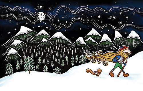 Erin Balzer Illustration - erin, balzer, erin balzer, black and white, b&w, wood printing, printing, licensing, picture book, colour, character, man, yodel, walking, boots, snow, mountains, trees, squirrel, winter, scarf, hat, beard,