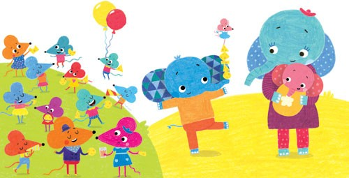 Evgenia Golubeva Illustration - evengia, golubeva, evengia golubeva, digital, commercial, picture book, fiction, educational, colourful, animals, play, play time, playing, pattern, elephant, cute, sweet, bright, YA, young reader, baby, mummy, mice, mouse, balloons, party, food, cheese,