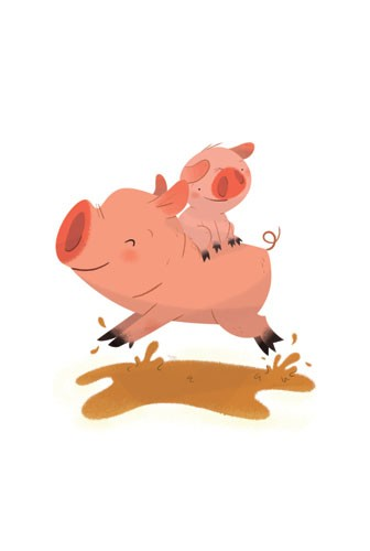 Ester Garay  Illustration - ester, garay, ester garay, commercial, educational, fiction, mass market, picture books, cute, sweet, YA, young reader, cute, sweet, animal, pig, piggy, piglet, mud, happy, colour