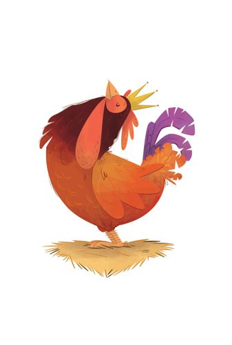 Ester Garay  Illustration - ester, garay, ester garay, commercial, educational, fiction, mass market, picture books, cute, sweet, YA, young reader, cute, sweet, animal, chicken, crown, colour, colourful, hay