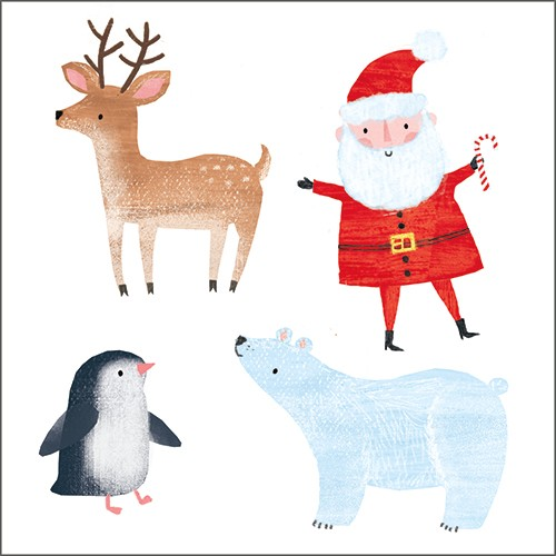 Emma Haines Illustration - emma haines, emma, haines, illustrator, artist, bright, colourful, digital, photshop, hand drawn, colour, funny cute, sweet, christmas, festive, characters, reindeer, penguin, father christmas, santa, polar bear, animals,