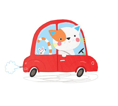 Emma Haines Illustration - emma haines, emma, haines, illustrator, artist, bright, colourful, digital, photshop, hand drawn, colour, car cat, funny cute, sweet, mouse, pets, animals, friends