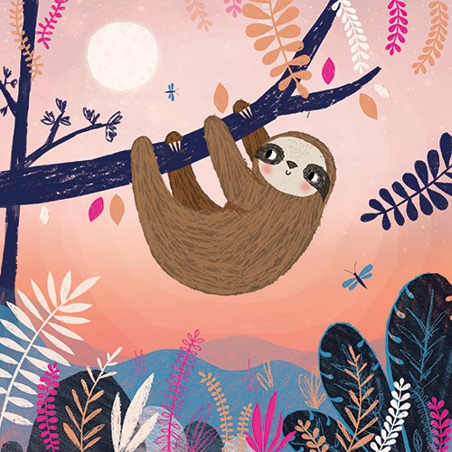 Emma Haines Illustration - emma haines, emma, haines, illustrator, artist, bright, colourful, digital, photshop, hand drawn, colour, funny, cute, sweet, sloth, animals, wildlife, jungle, trees, plants, sunset, sun, pink, pretty