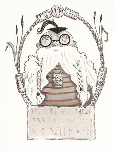 Erica Jane Waters Illustration - erica jane waters, fiction, commercial, line, black line, pencil, fiction, children, girls, tween, person, figures, man, magic, wizard, school, glasses, teacher, teach, books