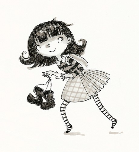 Erica Jane Waters Illustration - erica jane waters, fiction, commercial, line, black line, pencil, fiction, children, girls, tween, person, figures, woman, boots, sneak, tights, stripes