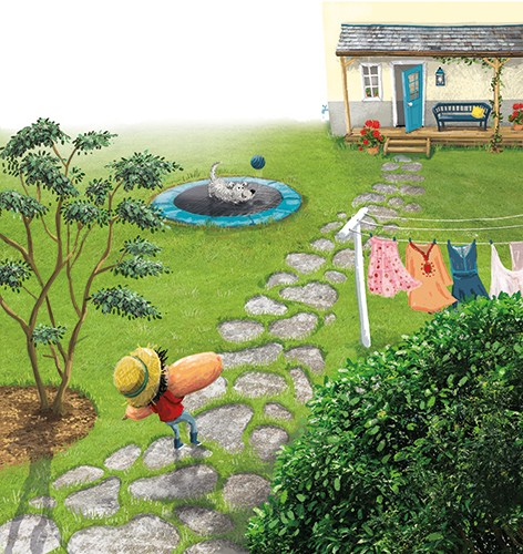 Eefje Kuijl Illustration - eefje, kuijl, eefji kuijl, commercial, educational, fiction, mass market, young reader, YA, digital, colour, colourful, photoshop, young, cute, sweet, child, boy, vegetable, garden, gardening, house, clothes, dog, play, playing, tree