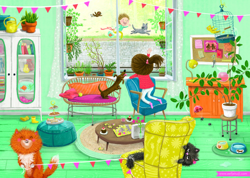Eefje Kuijl Illustration - eefje, kuijl, eefji kuigl, commercial, educational, fiction, mass market, greetings cards, young reader, YA, digital, colour, colourful, photoshop, home, house, chairs, kids, girls, boys, cats, kittens, dog, plants, books, fish, birds, cake, puzzle, bugs, drink,