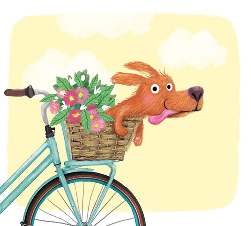 Eefje Kuijl Illustration - eefje, kuijl, eefji kuijl, commercial, educational, picture book, mass market, greetings cards, young reader, YA, digital, photoshop, illustrator, colour, dog,  sweet, basket, bike, riding, wind, flowers, tongue, humour, funny