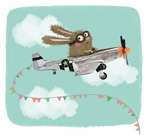 Eefje Kuijl Illustration - eefje, kuijl, eefji kuijl, commercial, educational, picture book, mass market, greetings cards, young reader, YA, digital, photoshop, illustrator, colour, rabbit, bunny, flying, plane, goggles, glasses, bunting, flags, windy, clouds sky, humour, funny