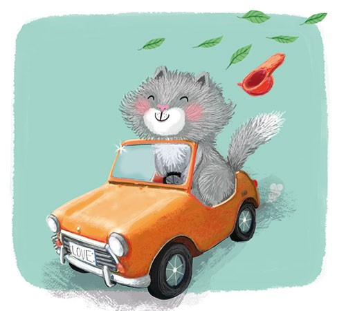 Eefje Kuijl Illustration - eefje, kuijl, eefji kuijl, commercial, educational, picture book, mass market, greetings cards, young reader, YA, digital, photoshop, illustrator, colour, cat, kitten, car, driving, humour, windy, car, hat, leaves, autumn