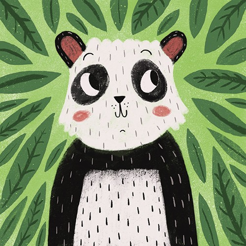 Emily Cooksey Illustration - emily cooksey, illustrator, digital, texture, pencil, line work, fiction, mass market, picture books, middle grade, young reader, animal, character, wild, panda, leaves, plants, nature, jungle, smile, cute, sweet, bear, furry, cover, story, book,